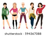 sporty womans outfit isolated... | Shutterstock .eps vector #594367088