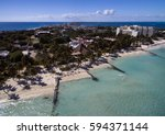 isla mujeres drone image from... | Shutterstock . vector #594371144