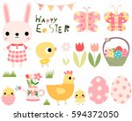 easter vector set with cute... | Shutterstock .eps vector #594372050