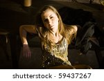 attractive girl in a rustic... | Shutterstock . vector #59437267