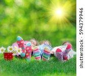 happy children playing outdoors.... | Shutterstock . vector #594379946