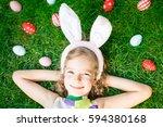 easter bunny. child having fun...   Shutterstock . vector #594380168