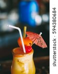 summer drink orange shake with... | Shutterstock . vector #594380684