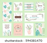 set of artistic creative spring ... | Shutterstock .eps vector #594381470