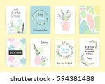 set of artistic creative spring ... | Shutterstock .eps vector #594381488