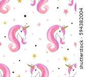 seamless unicorns pattern.... | Shutterstock .eps vector #594382004