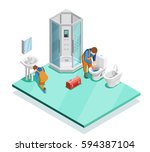 plumbers fixing problems in... | Shutterstock .eps vector #594387104