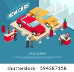 colored car dealership leasing... | Shutterstock .eps vector #594387158