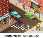 city navigation with digital... | Shutterstock .eps vector #594388820