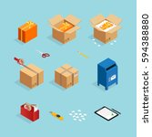 set of isometric box packing... | Shutterstock .eps vector #594388880