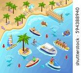sea beach vacation isometric... | Shutterstock .eps vector #594388940