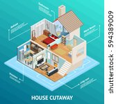 isometric house cutaway... | Shutterstock .eps vector #594389009