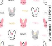 seamless princess bunny pattern.... | Shutterstock .eps vector #594390464