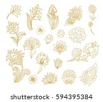 set of vector flowers | Shutterstock .eps vector #594395384