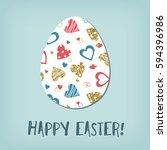 easter egg. blue  red  gold... | Shutterstock .eps vector #594396986