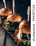 delicious homemade hamburgers... | Shutterstock . vector #594397124