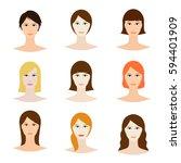 female avatar set  woman faces... | Shutterstock .eps vector #594401909