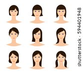 female avatar set  woman faces... | Shutterstock .eps vector #594401948