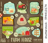set labels for farm product.... | Shutterstock .eps vector #594413174