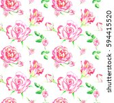 flowers of pink roses  seamless ... | Shutterstock . vector #594415520