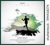 silhouette of marathon runner | Shutterstock .eps vector #594418274