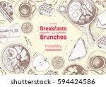 breakfasts and brunches top... | Shutterstock .eps vector #594424586