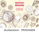breakfasts and brunches top... | Shutterstock .eps vector #594424604