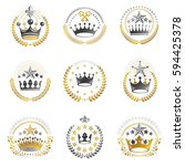 ancient crowns emblems set.... | Shutterstock .eps vector #594425378