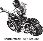 an woman riding motorcycle.... | Shutterstock .eps vector #594426680