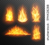 set of realistic burning fire... | Shutterstock .eps vector #594428288