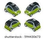 isometric hybrid car. city car... | Shutterstock .eps vector #594430673
