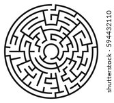 circle maze. labyrinth with... | Shutterstock .eps vector #594432110