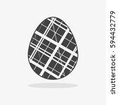 easter egg in black white style ... | Shutterstock .eps vector #594432779