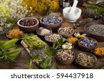 natural remedy and mortar ... | Shutterstock . vector #594437918