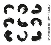 collection of ink brushstrokes  ... | Shutterstock .eps vector #594443360
