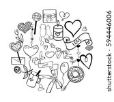set of vector hand drawn love... | Shutterstock .eps vector #594446006