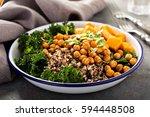 green and healthy vegan grain... | Shutterstock . vector #594448508