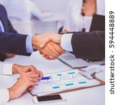 business people shaking hands ... | Shutterstock . vector #594448889