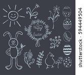 set of vector easter doodles ... | Shutterstock .eps vector #594449504