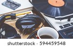 retro music background | Shutterstock . vector #594459548