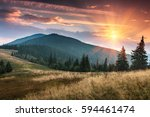 sunrise above peaks of smoky... | Shutterstock . vector #594461474