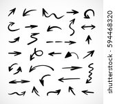 hand drawn arrows  vector set | Shutterstock .eps vector #594468320