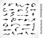 hand drawn arrows  vector set | Shutterstock .eps vector #594468320