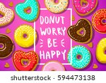 donuts with donut worry be... | Shutterstock .eps vector #594473138