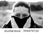 woman with bruised eyes in... | Shutterstock . vector #594474710