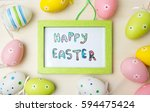 Happy Easter Card In A Wooden...