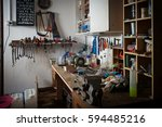 messy workshop  complete chaos... | Shutterstock . vector #594485216