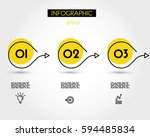 yellow circle infographic... | Shutterstock .eps vector #594485834