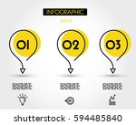yellow circle infographic drop... | Shutterstock .eps vector #594485840