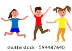 young jumping  laughing... | Shutterstock .eps vector #594487640